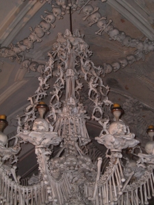 Bone Chandelier at Sedlec Ossuary in Czech Republic.