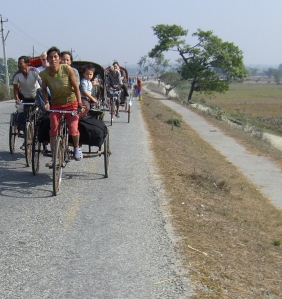 Rickshaws a great way to travel Nepal.