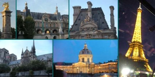 Bateaux Parisens photo montage of Seine Sights
