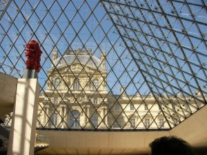 Louvre Courtyard from inside the Pyramid