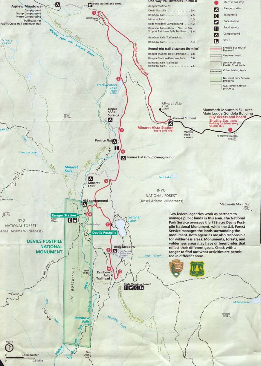 Reds Meadow Shuttle Map, Mammoth Lakes in Summer