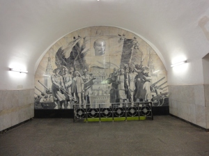 Subway stations in Moscow are filled with murals, statues, ceiling paintings...